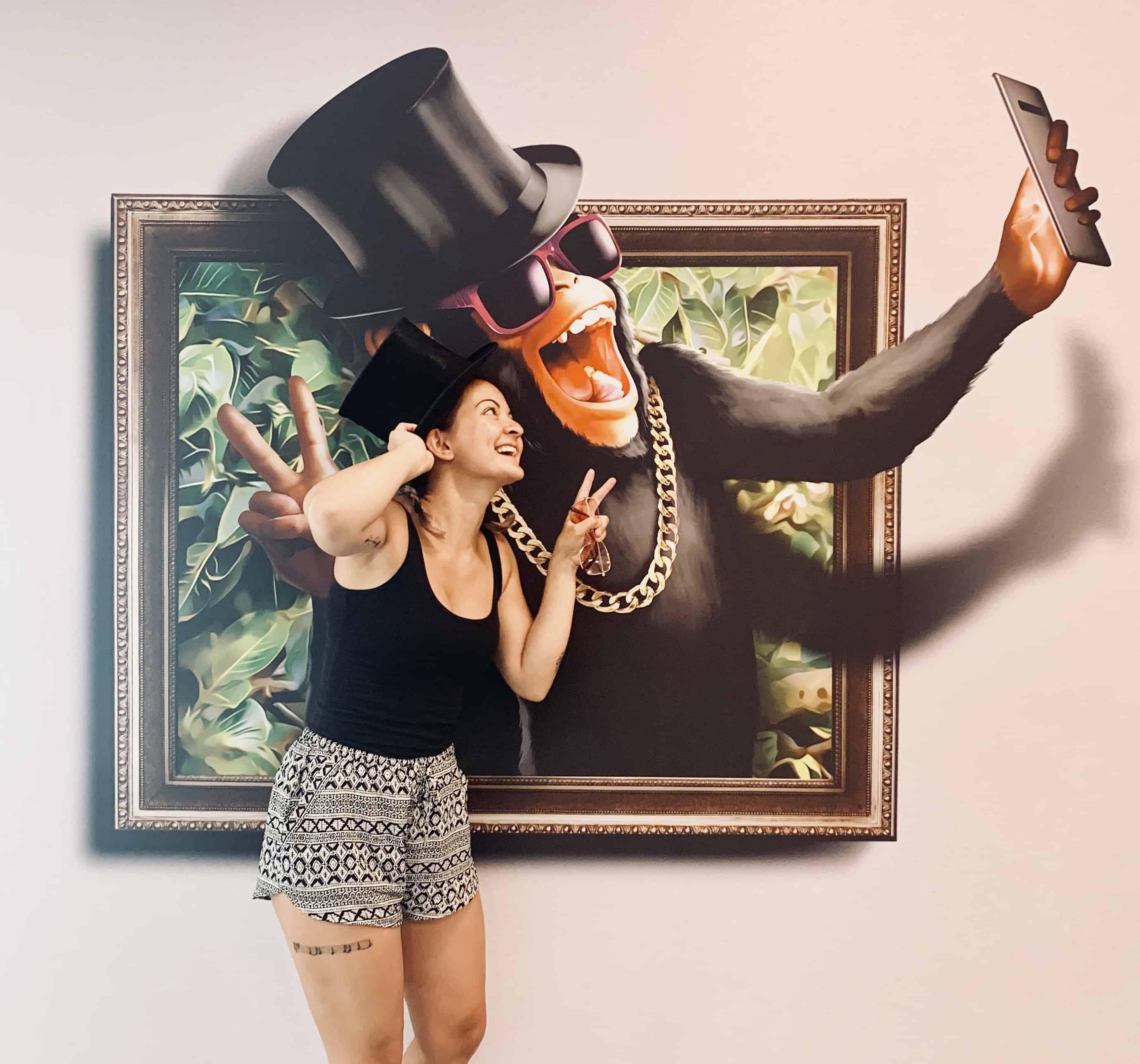3D Art Selfie mit Affe